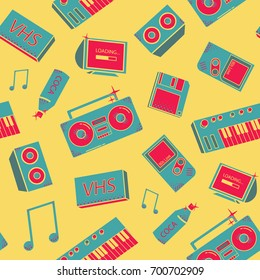 Seamless pattern with old school things. background with synthesizers, tape recorder, phone and other elements.