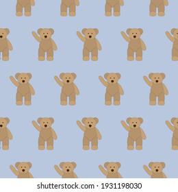 Seamless pattern old teddy bear waving hello