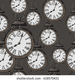 Seamless pattern with old vintage sketch ringing alarm clock, vector illustration