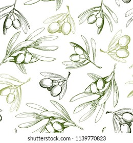 Seamless pattern with olive branch. Drawn by hand