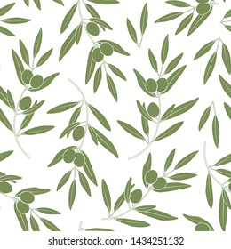 Seamless pattern with olives. Vector silhouette of branches, leaves and olives. Design for labels, wrappers, textiles, web design. Isolated on white.