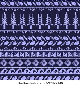 Seamless pattern with olives, wheat, and greek symbols. Monochrome palette