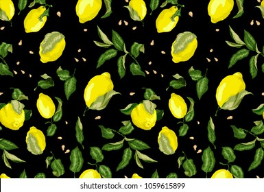 Seamless Pattern on the black background for texrile and print with citrus lemon fruit, seeds and leaves. Bright colors in concept graphic design
