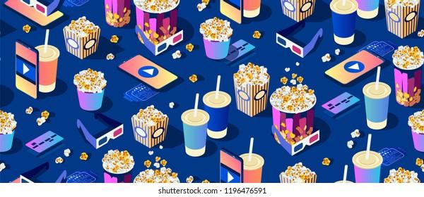 seamless pattern on dark background. Popcorn, cola, 3d movie eyeglasses and smartphone. Bright modern cinema texture. Isometric 3d