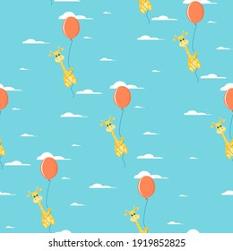 Seamless pattern on an Easter with hot air balloon Giraffe. Easter pattern. Vector illustration.