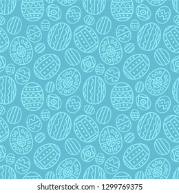 Seamless pattern on the Easter theme. Graphic vector pattern with festive eggs.