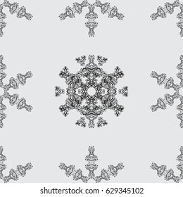 Seamless pattern on gray background with dim elements. Seamless dim pattern. Vector oriental ornament.