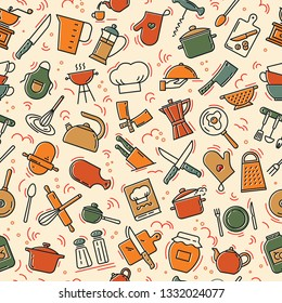 The seamless pattern on the kitchen theme with a variety of kitchen items. Background for menu design, kitchen items, and other things.