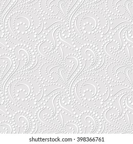 Seamless pattern on light gray background. Elegant, embossed effect texture vector design. Simple to edit, without gradient, three colors.