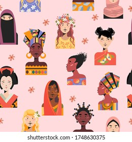 Seamless pattern on a light pink background. Portraits of women of different races and nationalities.