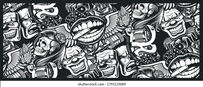 Seamless pattern on tattoo theme with a skull, mask, tattoo machine, and other elements tattoo. Ideal for printing for fabric, wall decoration, and many other uses