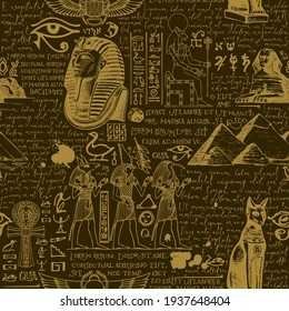 Seamless pattern on the theme of Ancient Egypt with hand-drawn Egyptian gods and handwritten text lorem ipsum on a dark backdrop. Vector abstract background. Retro wallpaper, wrapping paper, fabric