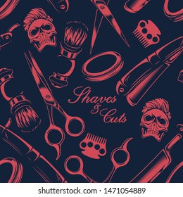 Seamless pattern on the theme of barber shop on a dark background.