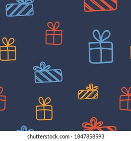 Seamless pattern on the theme of Boxing Day on December 26. Decorated with a handwritten inscription DECEMBER and gifts.