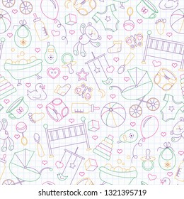Seamless pattern on the theme of childhood and newborn babies, baby accessories and toys, simple contour icons, drawn with colored markers on the clean writing-book sheet in a cage