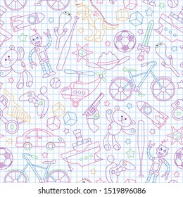 Seamless pattern on the theme of childhood and toys, toys for boys, colored outlines icons on contour  icons on the clean writing-book sheet in a cage