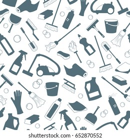 Seamless pattern on the theme of cleaning and household equipment and cleaning products,a grey silhouettes of icons on a light background