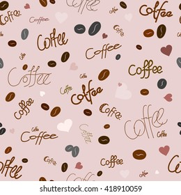 Seamless pattern on the theme of coffee. For printing on packaging, bags, cups, etc. Vector.