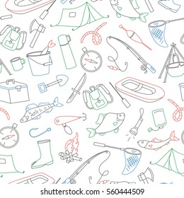 Seamless pattern on the theme of fishing, simple colored contour icons on white background