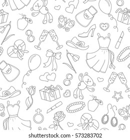 Seamless pattern on the theme of international women's day March 8, a simple outline icon on the topic of women, black contour on white background