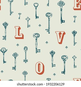 Seamless pattern on the theme of love with vintage keys and letters L O V E. Creative vector background in retro style, suitable for Wallpaper, wrapping paper, fabric