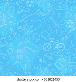 Seamless pattern on the theme of male Hobbies and habits,simple hand-drawn white contour icons on blue background