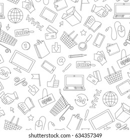Seamless pattern on the theme of online shopping and Internet shops, dark contour icons on white background