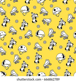 Seamless pattern on the theme of roller derby and roller skating on yellow background