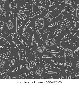 Seamless pattern on the theme of the school, a simple contour icons, light outline on a dark background