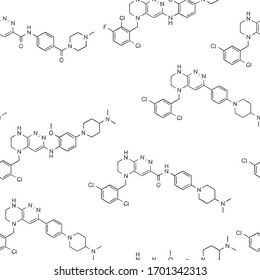 Seamless pattern on the theme of science and chemistry. Structural formulas of substances. Black outline on a white background. Vector illustration in sketch style.