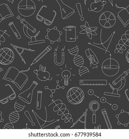 Seamless pattern on the theme of science and inventions, diagrams, charts, and equipment,light  simple contour icons on a dark  background