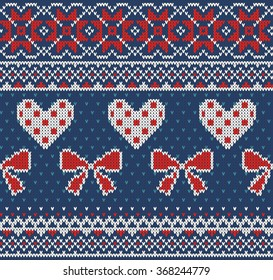 Seamless pattern on the theme of Valentine's Day with an image of the Norwegian and fairisle patterns. Red and white bows and hearts on a blue background. Wool knitted texture. Vector Illustration