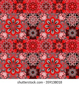 Seamless pattern on the tiles, majolica, arabic, red, gray, vector