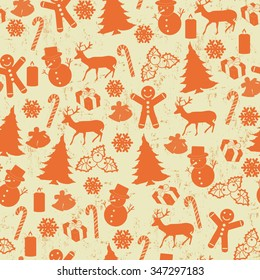 Seamless pattern on vintage style with Christmas elements, vector illustration