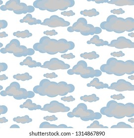Seamless pattern on white background. Clouds of different shapes and sizes.