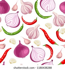 Seamless pattern with onions, garlic, chili peppers on a white background. Vector illustration of ingredients for hot sauces in a flat cartoon style.