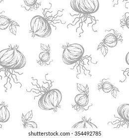 Seamless pattern with onions. Hand drawn texture. Ukraine