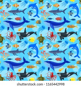 Seamless pattern with oocean animals on blue background.