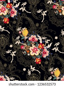 Seamless pattern with openwork bunches