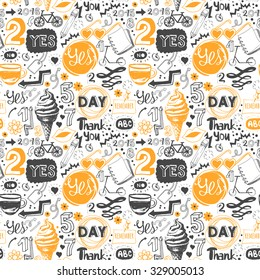Seamless pattern with orange and black sketch symbols, lettering and labels. Vector funny Illustration on white background. Decorative elements for your packing design.