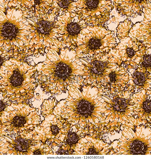 Seamless pattern with orange chrysanthemum flowers