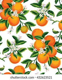 Seamless pattern with orange fruits, flowers and leaves on a white background. Vector illustration.