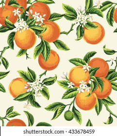 Seamless pattern with orange fruits, flowers and leaves on a light background. Vector illustration.