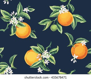 Seamless pattern with orange fruits, flowers and leaves on a dark blue background. Vector illustration.