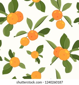 Seamless pattern with orange mandarin tangerine and leaves on white background. Vector illustration.