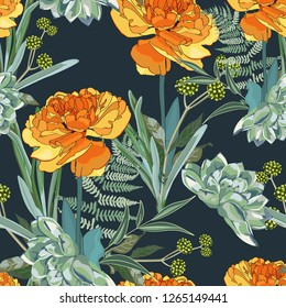 Seamless pattern with orange yellow Tulip and many kind of herbs with and succulent on a dark blue background.