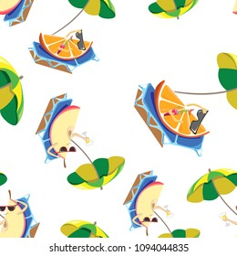 A seamless pattern of oranges and apples resting on sun beds and a cocktail drinker on white background