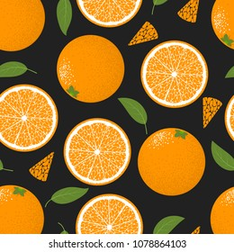 Seamless Pattern with Oranges Fruit. Fresh Citrus Fruit Background with Green Petals. Stylized Slice and Flesh of Orange. Seamless Pattern with Vector Oranges for Tablecloth, Paper, Fabric, Textile.