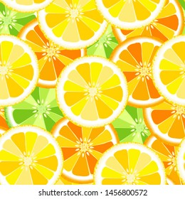 Seamless pattern with oranges-vector illustration. Slices of orange on the background.