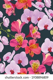 Seamless pattern of Orchid and Alstroemeria flower background template. Vector set of floral element for wedding invitations, greeting card, brochure, banners and fashion design.